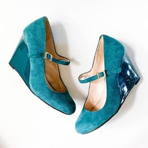 Vince Camuto Suede Patent Wedge Mary Jane